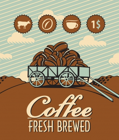 loaded: retro banner with a cart loaded with coffee beans