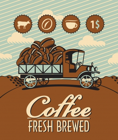good break: banner with retro truck and coffee beans Illustration