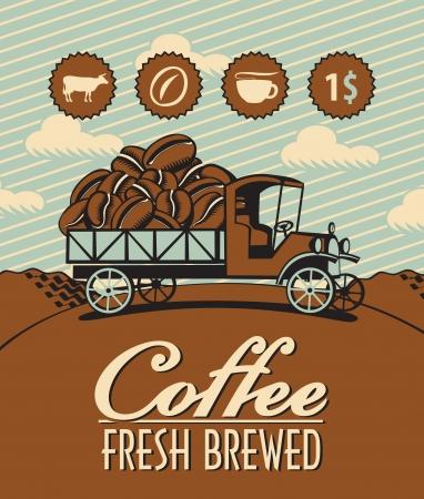 good break: pancarta con el carro retro y granos de caf� Vectores