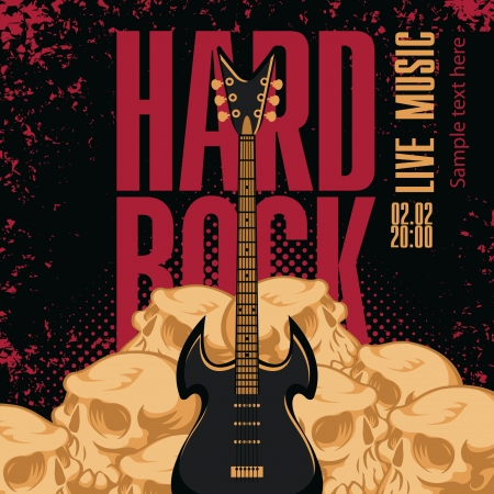 banner with electric guitar, human skulls and words hard rock Vector
