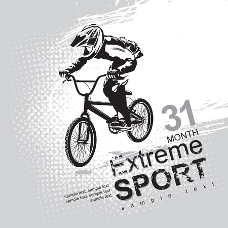 extreme sports with a cyclist Vector