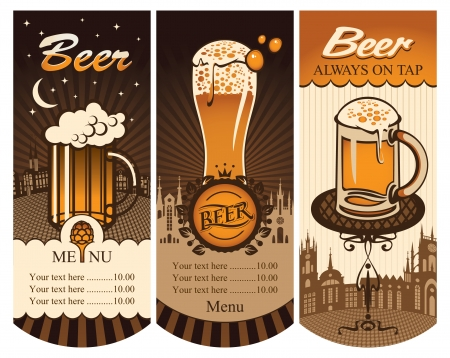 beer mugs: set of price lists for a glass of beer in the background of the old town