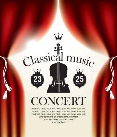 classical music: affiche voor een concert van klassieke muziek met een podium en backstage Stock Illustratie