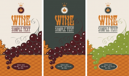 wine label: Set of wine labels with grapes in a basket Illustration