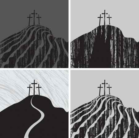 trinity: set Calvary mountain with three crosses