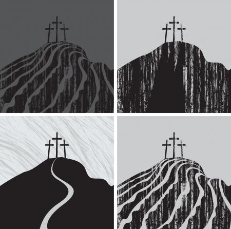 calvary: set Calvary mountain with three crosses