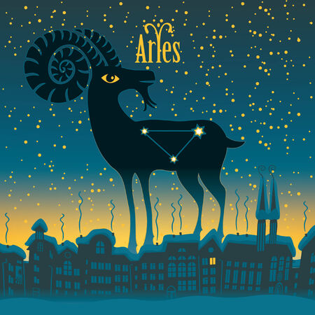 sky night: Aries sign in the starry sky night city Illustration