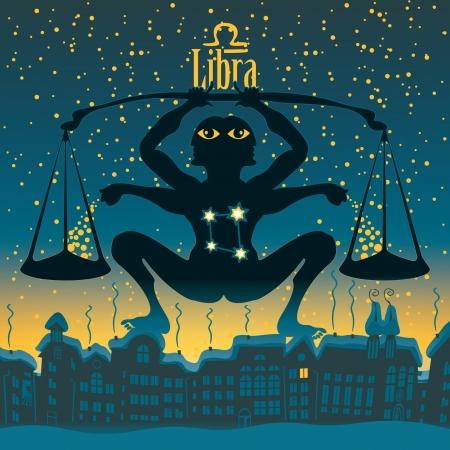 sky night: Libra sign in the starry sky night city