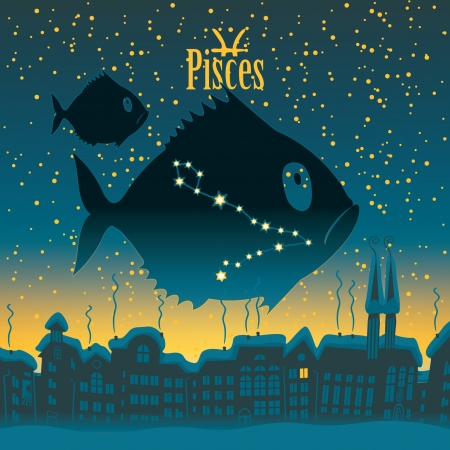 Pisces sign in the starry sky night city Vector