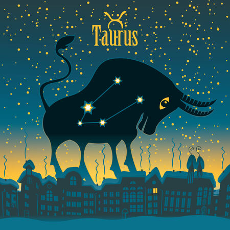 Taurus sign in the starry sky night city Vector