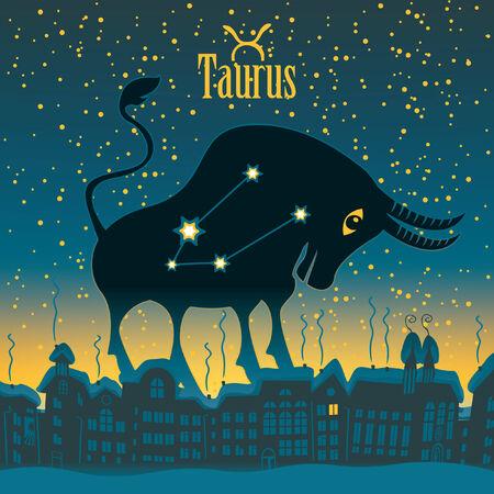 sky night: Taurus sign in the starry sky night city Illustration