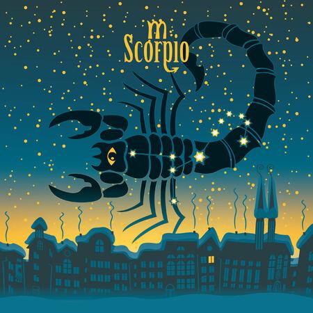 sky night: Scorpio sign in the starry sky night city
