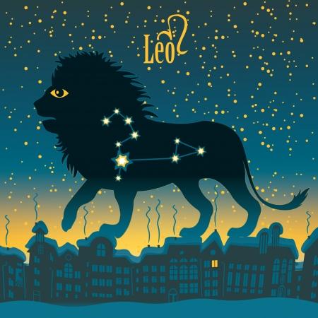 sky night: Leo sign in the starry sky night city