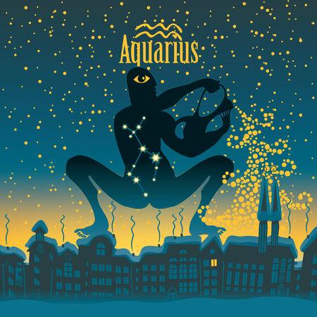 sky night: Aquarius sign in the starry sky night city