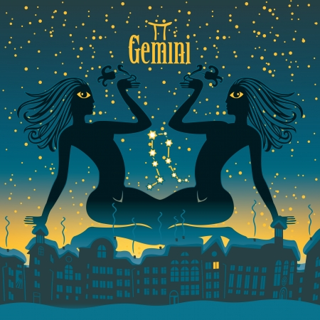 Gemeni sign in the starry sky night city Vector