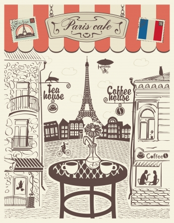 street cafe: Parisian street restaurant with views of the Eiffel Tower