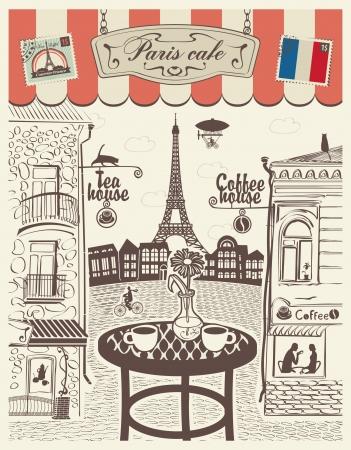 vintage paris: Restaurante de la calle de Par�s con vistas a la Torre Eiffel Vectores