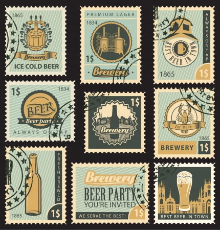 set of postal stamps on theme of beer and brewery Vector
