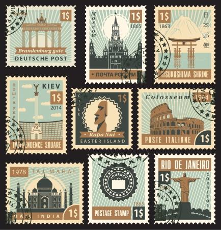 timbre postal: conjunto de sellos de diferentes pa�ses con monumentos arquitect�nicos