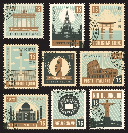 set of stamps from different countries with architectural landmarks Vector