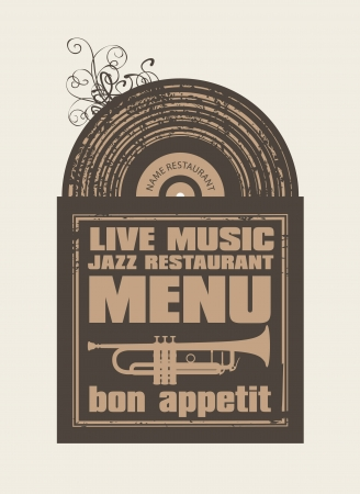 jazz club: menu for the restaurant with jazz music vinyl records and cutlery