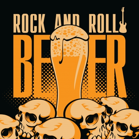 roll bar: banner beer and rock  n  roll with human skulls Illustration
