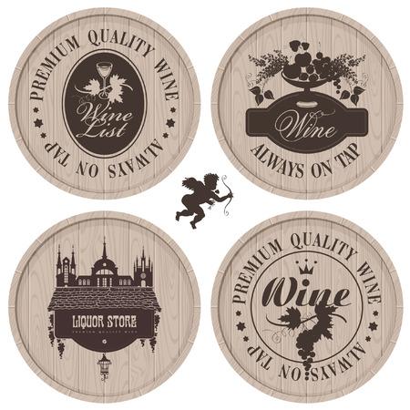casks: four labels for wine on wooden casks Illustration