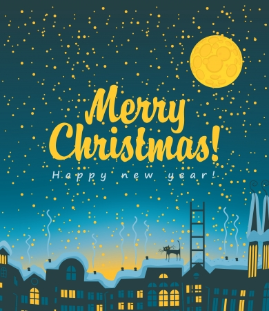 Christmas card with night city roofs Vector