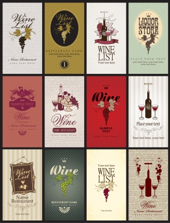 set of business cards on Wine Illustration