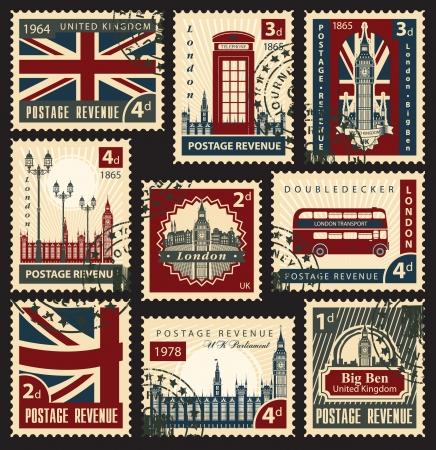 londres autobus: conjunto de sellos con la bandera de los lugares de inter�s del Reino Unido y Londres