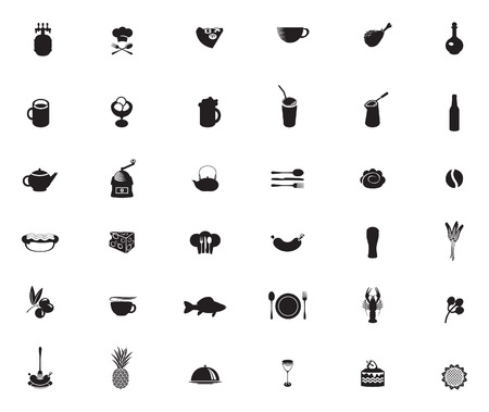 set of black and white icons on the theme of food and drinks Vector