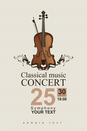 concert poster: poster for a concert of classical music with violin Illustration