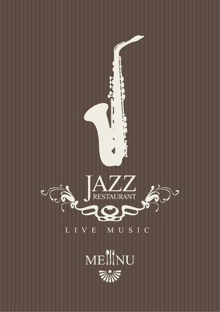 flower of live: cover for a jazz restaurant menu with cutlery and saxophone Illustration