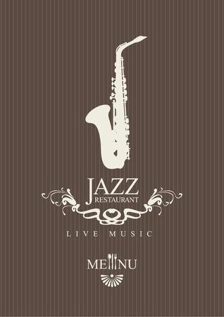 saxof�n: cubrir para un men� de un restaurante de jazz con los cubiertos y el saxof�n