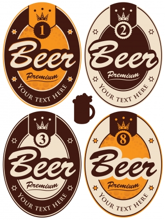 set of four oval labels for beer Stock Vector - 24629382