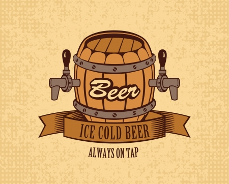 banner with a barrel of beer on tap Vector