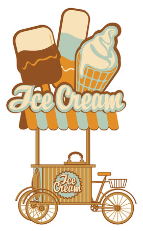 comida rápida: bandeja sobre ruedas para la venta de helados Vectores