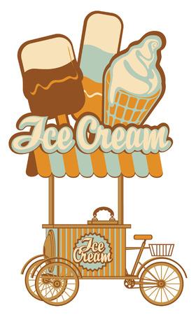 voedingsmiddelen: lade op wielen voor ijs verkopen