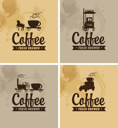 four banners for fresh coffee on a mottled background Vector