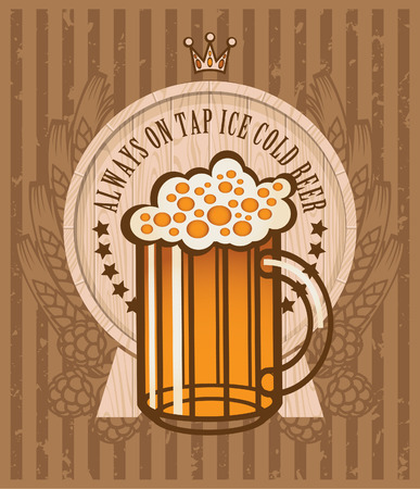 coat of arms with a glass of beer keg, malt and wheat Vector