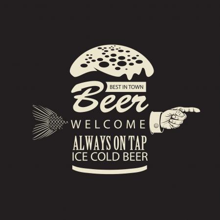 맥주와 손가락으로 가리키는 배너