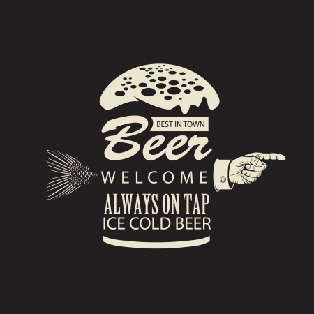 Banner met een biertje en een wijzende vinger