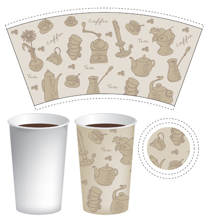 Template paper cup for coffee and tea with the texture of cutlery Stock Vector - 24911792