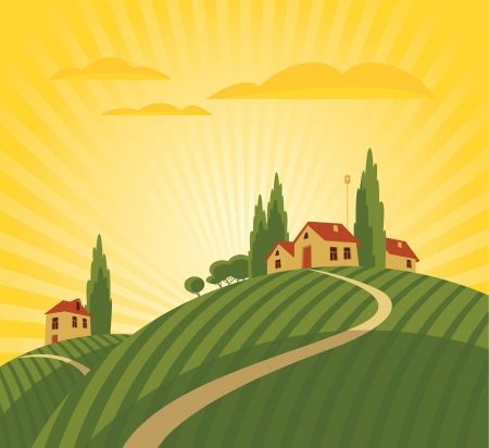 landscape with vineyard and countryside Vector