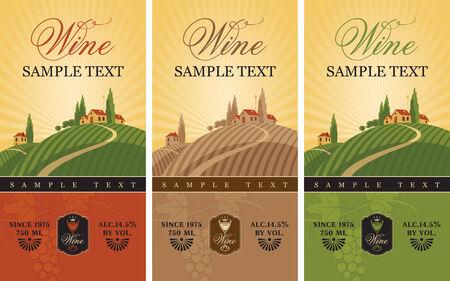 drie wijnetiketten met een landschap van wijngaarden