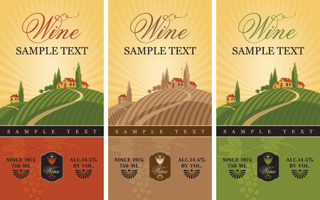 three wine labels with a landscape of vineyards