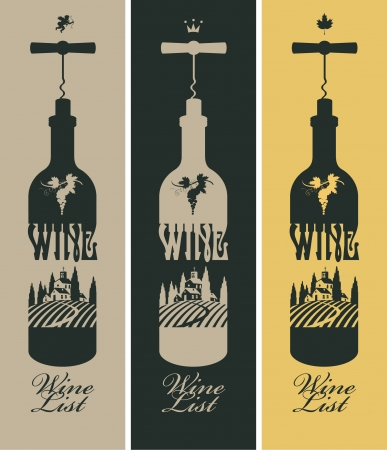 wine vineyards: banners set with a bottle of wine and vineyards, and the church