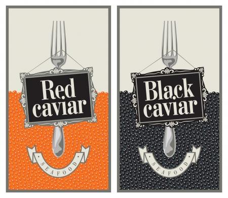 caviar: deux �tiquettes avec une fourchette et le caviar rouge et noir