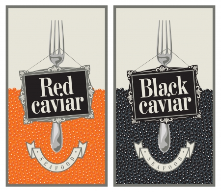 two labels with fork and red and black caviar Vector