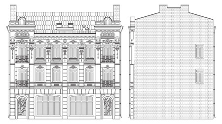 drawing three-storey house in baroque style front and side Vector